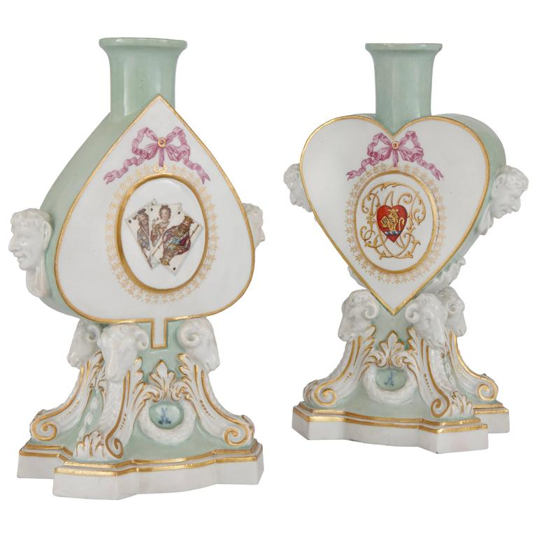 Pair of Heart Shaped Meissen Porcelain Candleholders