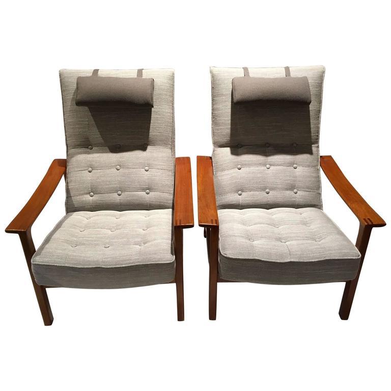 Pair of Scandinavian Modern Reclining Back Armchairs with Teak Frame