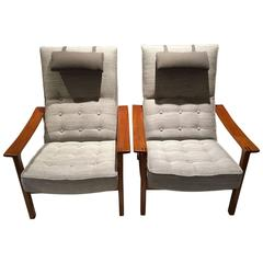 Pair of Scandinavian Modern Reclining Back Armchairs with Teak Frame