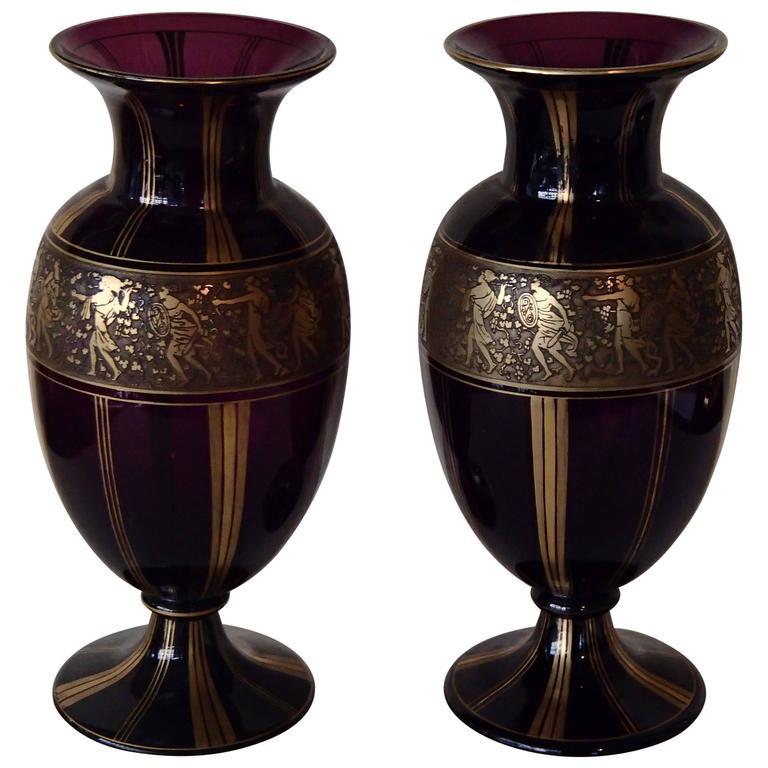 Pair Of Huge Ludwig Moser Karlsbad Vases With Gold Mythological