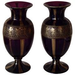 Pair of Huge Ludwig Moser Karlsbad Vases with Gold Mythological Motives