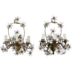 Pair of French Bronze Basket Form Sconces with Crystal Flowers