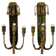 Mid-Century Brass and Glass Three-Light Sconces in Manner of Stilnovo
