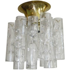 Petite Doria Glass Tube Flush Mount Chandelier
