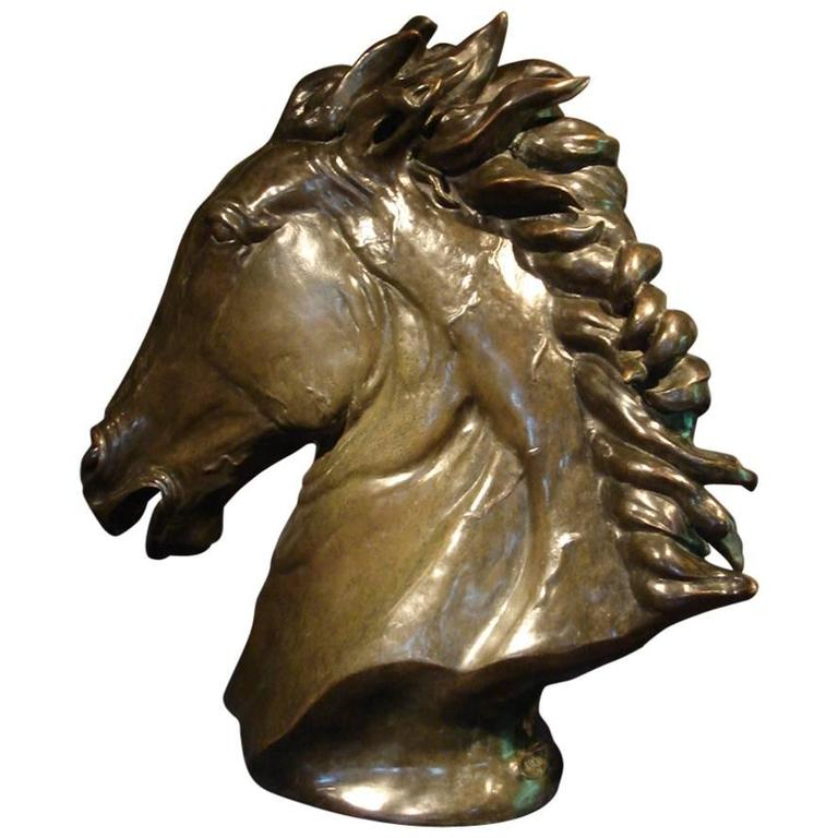 Contemporary Bronze Sculpture of a Life-Size Horse's Head by Abbott Van Dada For Sale