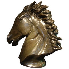 Contemporary Bronze Sculpture of a Life-Size Horse's Head by Dada