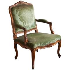 Carved Louis XV Walnut Fauteuil or Open Armchair, Mid-18th Century