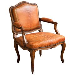 Small Louis XV Carved Beech Fauteuil
