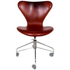 office chair cognac leather model 3117 by arne jacobsen for fritz hansen arne jacobsen furniture