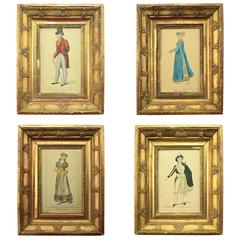 Set of Four Giltwood Framed and Hand Coloured Fashion Plates, France, 1810