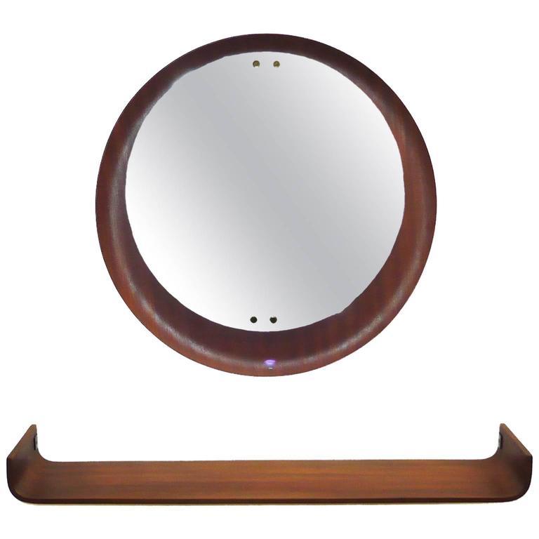 Stilcasa Creazioni Mid-Century Modern Adjustable Wall Mirror and Shelf
