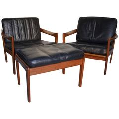 Beautiful Set of Danish Black Leather Two Armchairs and Footstool, circa 1950