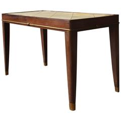 French Art Deco Rosewood Coffee Table with a Parchment Top and Bronze Details