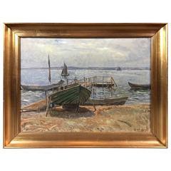 Olaf Viggo Peter Langer, Coastal Scene with Boats, Dated 1916, Danish