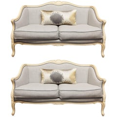 Pair of Louis XV Style Painted Settees in Organic Linen