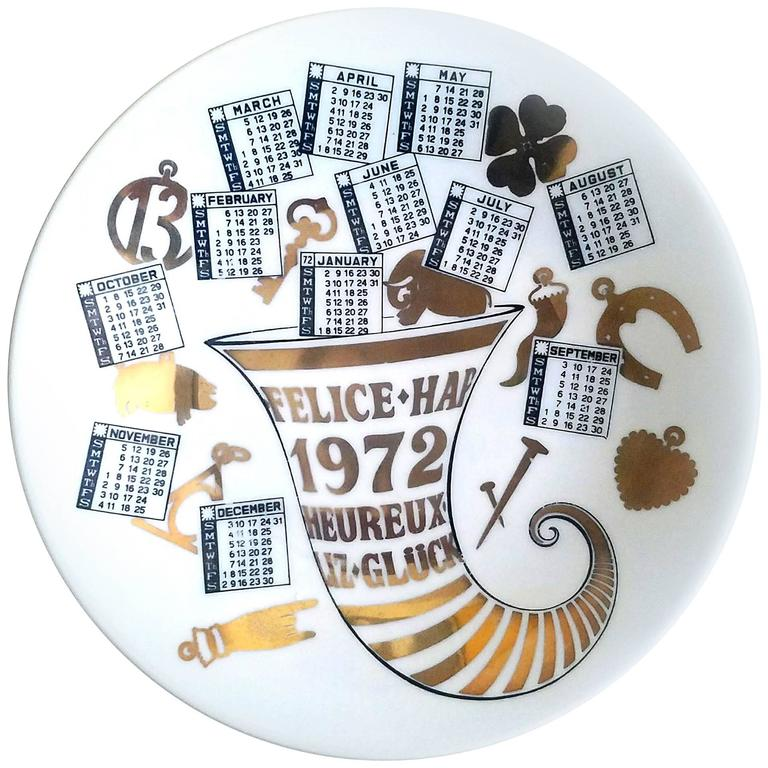 Piero Fornasetti Porcelain Calendar Plate for the Year 1972 For Sale