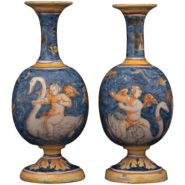 Pair of Nevers Faience Vases of 17th Century