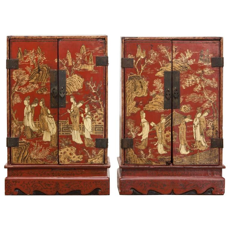 Nice Pair Of Edo Period Japanese Red Lacquer Table Cabinets 1