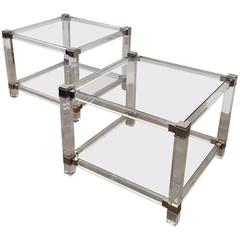 Pair of French Chrome and Lucite End Tables