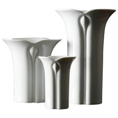 Set of Three White Porcelain Vases by Werner Bünck for Arzberg, Corso Cnospa