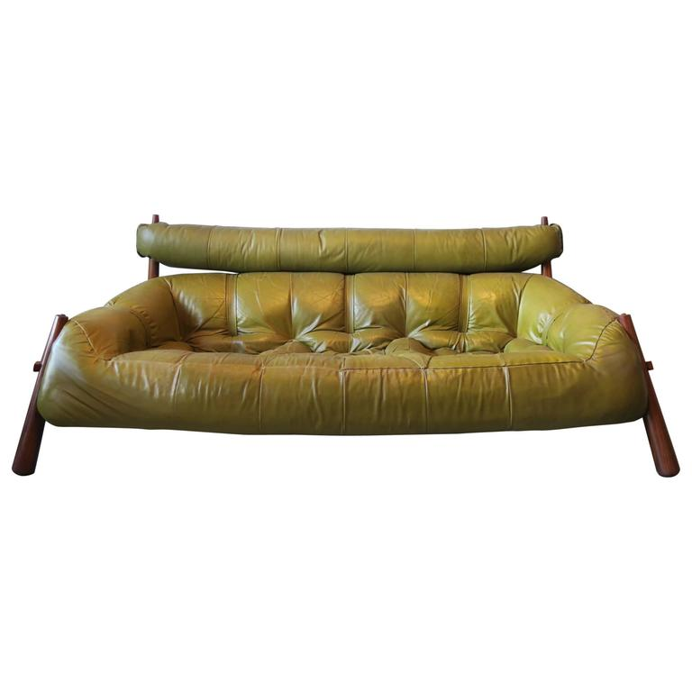 Percival Lafer Rosewood And Distressed Tufted Yellow: Percival Lafer Three-Seater Rosewood And Leather Sofa