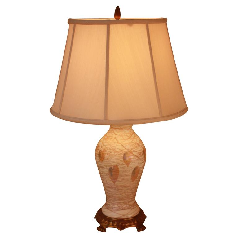 American Art Glass Table Lamp by Quezal