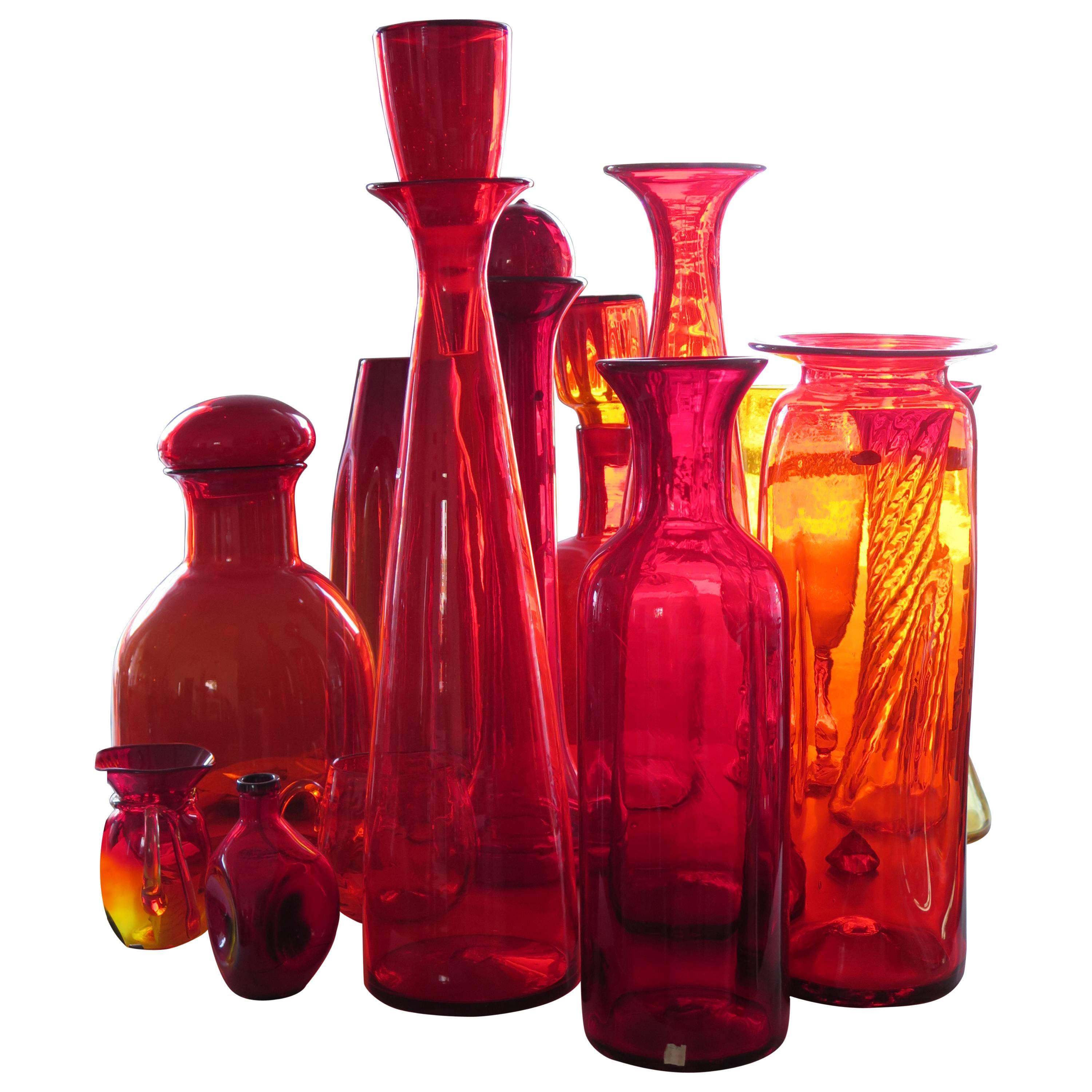 Collection of Large Blenko Glass Pieces