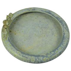Stoneware Dish with Blue Crystalline Glaze and Applied Flower, Arne Bang 1930s