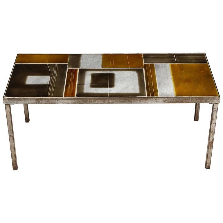 Roger Capron Brown Lava Coffee Table Geometric Mid