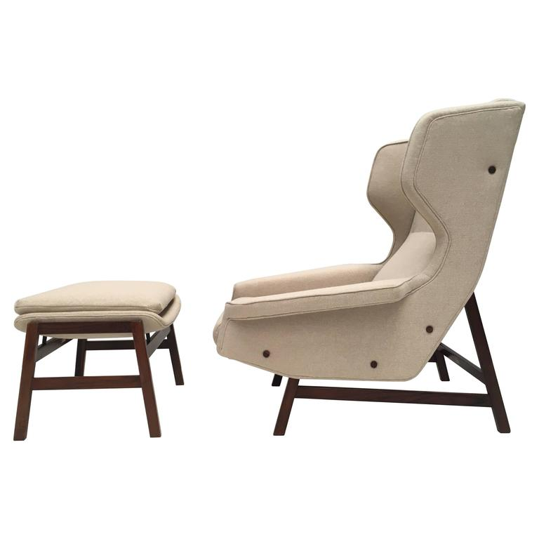 Ultra Rare Rosewood Gianfranco Frattini 877 Lounge Chair & Ottoman,Cassina,1959 For Sale
