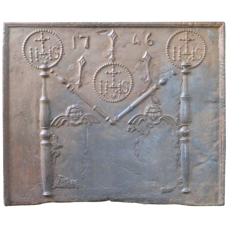 18th Century Pillars with Medieval IHS Monogram Fireback