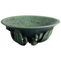 Stoneware Bowl with Sculptural Base and Green Glaze by Arne Bang, Denmark, 1930s