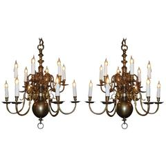 20th Century Pair of Brass Chandeliers