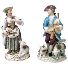 Meissen Kaendler Shepherd Bagpipe Shepherdess Sheep Rococo made 1763-1773