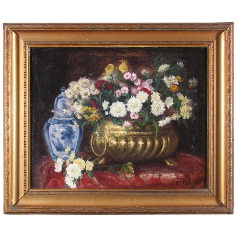 19th Century French Flower Still Life For Sale