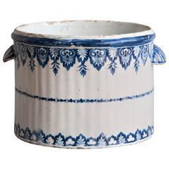 18th Century Blue and White Faience 'Rafraichissoir' or Wine Cooler, Rouen