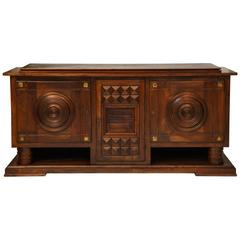 Charles Dudouyt Deco Mahogany Sideboard Buffet, 1930s, France