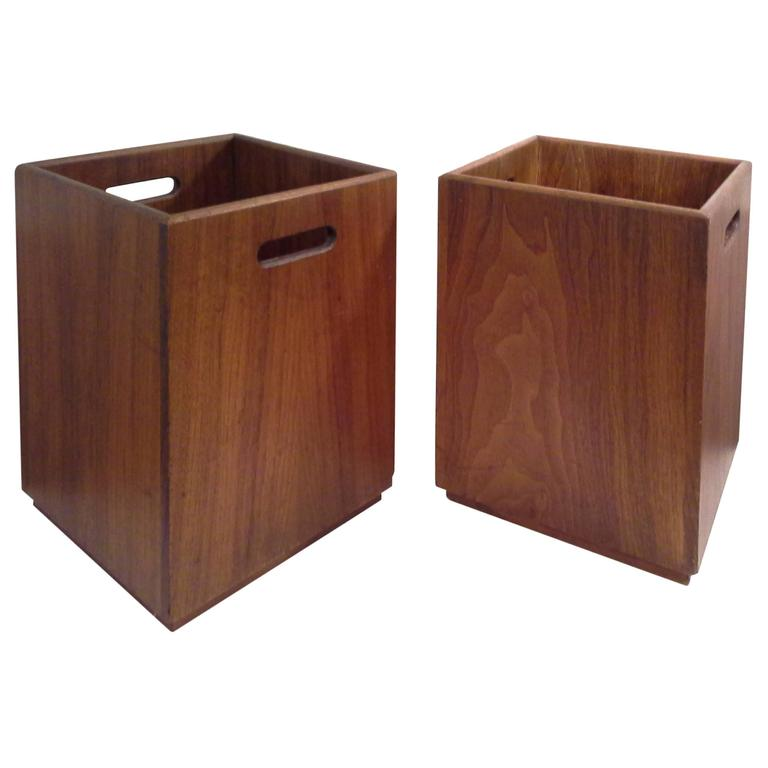Mid Century Solid Walnut Waste Baskets For Sale At 1stdibs