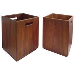 Mid-Century Solid Walnut Waste Baskets