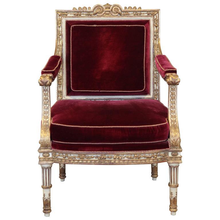 Louis XVI Style Armchair Made by La Maison London For Sale