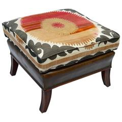 Leather Ottoman with Vintage Suzani Embroidered Cushion