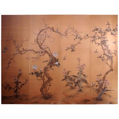 Large Japanese Silk Painted Canvas on Wooden Panel, circa 1900