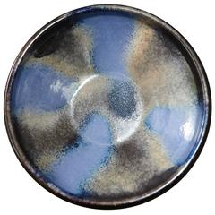 Blue and Grey Ceramic Bowl from Germany with Raymor Sticker