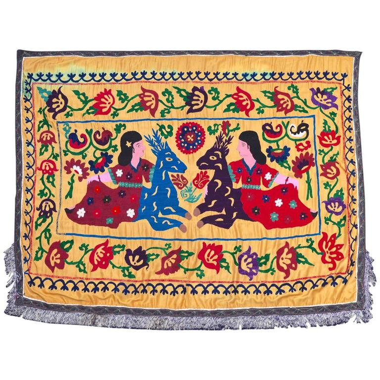 Large Vintage Hand Embroidered Uzbek Suzani Silk Wall Hanging with Deer