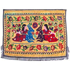 Large Vintage Hand Embroidered Uzbek Suzani Silk Wall Hanging with Deer