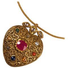 Gold and Nine Gemstone Navaratna Pendant Necklace
