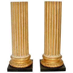 Pair of Gustavian Painted and Carved Giltwood 18th Century Colonns
