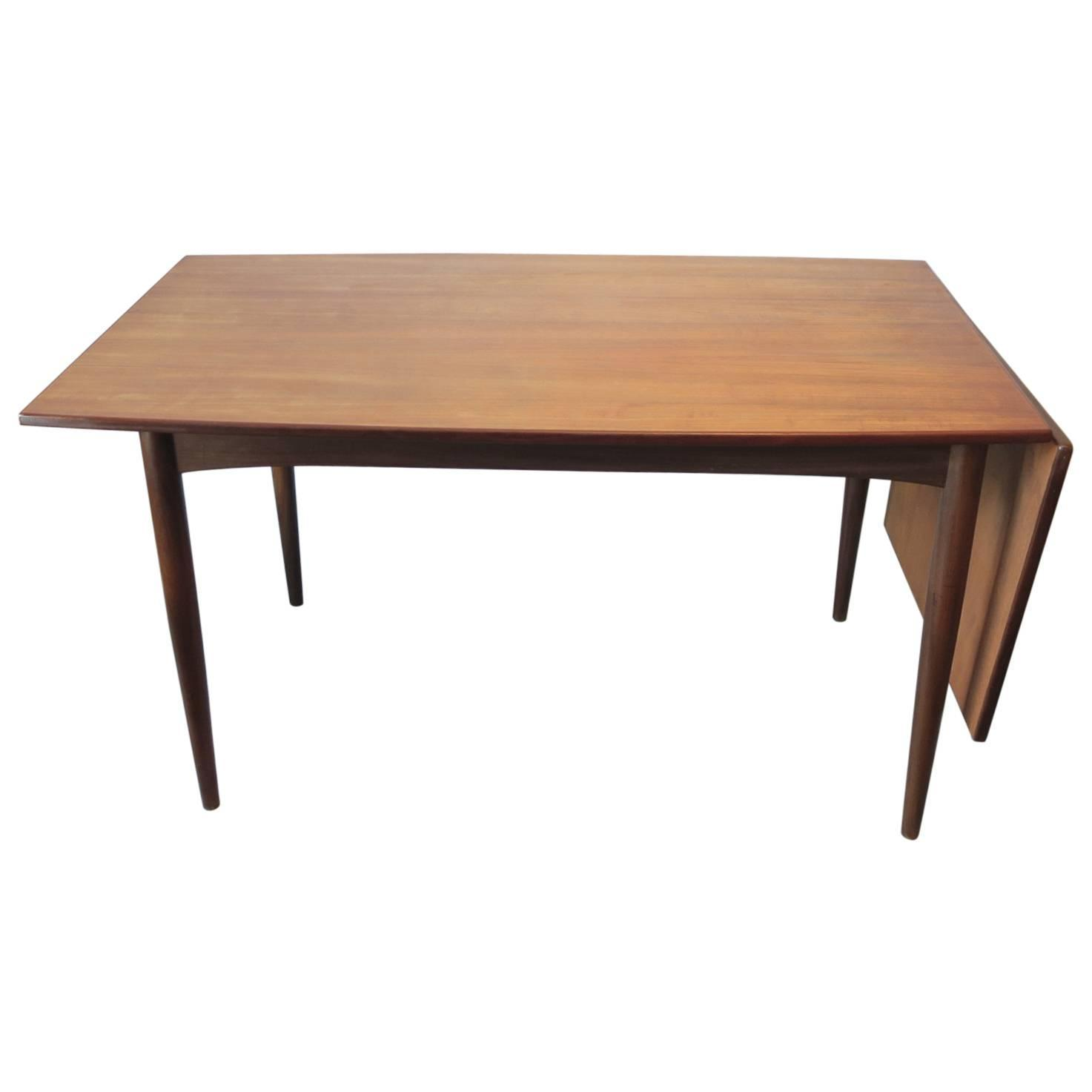 Unusual curved danish teak dining table with sliding top for Unusual dining tables for sale