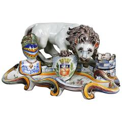 French Faience Inkwell with Lion