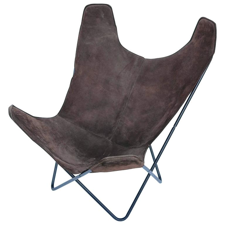 Knoll Butterfly Chair by Jorge Ferrari Hardoy in Suede Leather For